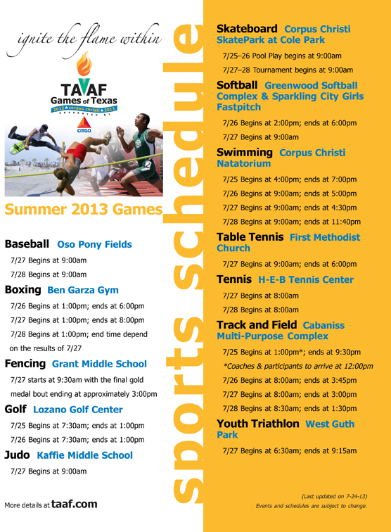 Summer 2013 TAAF Games of Texas - Sports Schedule